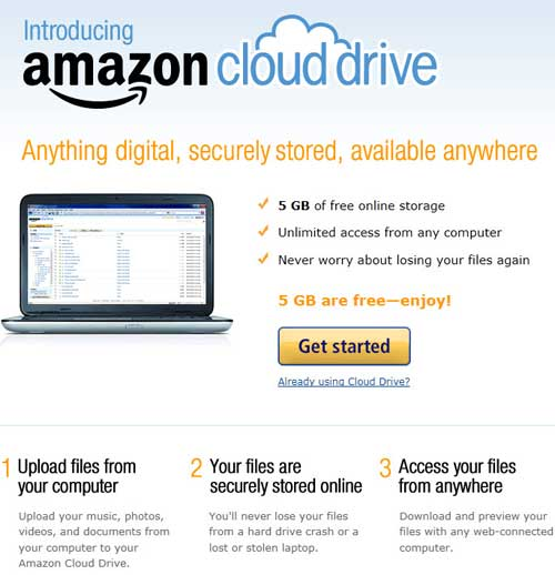 AMAZON.COM CLOUD DRIVE 5GB FREE CLOUD STORAGE