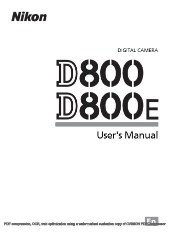 Nikon D800 Printable Manual