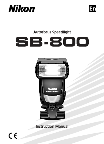 NIKON SB-800 Instruction Manual
