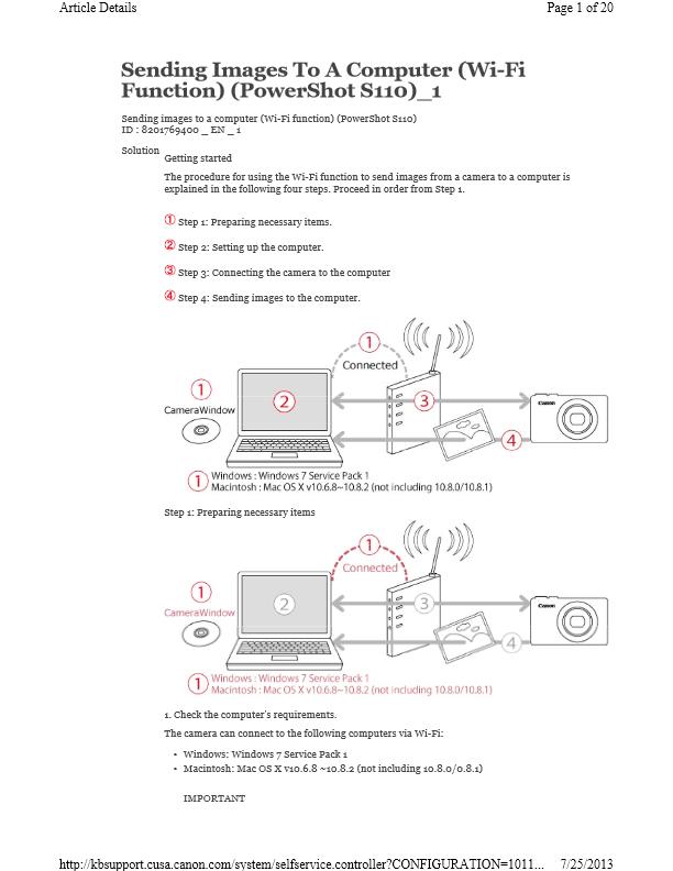 Canon PowerShot s110 WiFi setup