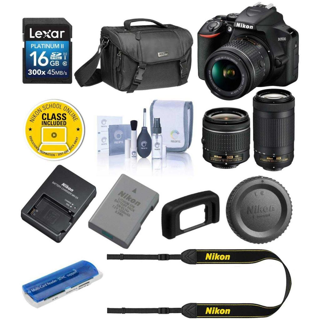 Nikon D3500 24MP DSLR Camera with NIKKOR 18-55mm and 70-300mm Lens With Free Kit